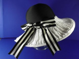 frank olive black and white ribbon fancy church hat nwt