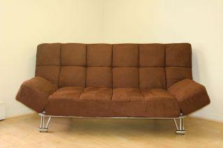 Modern Microfiber Futon Sofa Bed w Adjustable Arms New