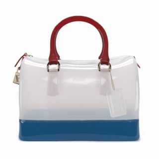 Furla Candy Bag Jelly Satchel Purse Tricolor Red White Blue Opaline