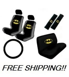 11pc Batman Dark Knight Seat Covers Steering Wheel Cover Full Set