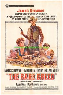 The RARE Breed Movie Poster 27x41 One Sheet 1966 James Stewart Western