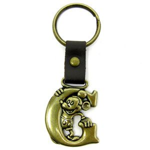 Disney Mickey Mouse Brass Key Ring Key Chain Letter G