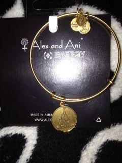 Disney Alex and Ani Energy Russian Gold Expandable Cinderellas Castle