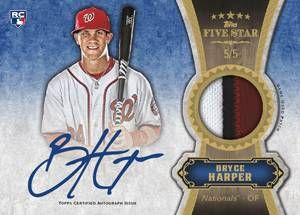 2012 Topps Five Star Baseball Five Star Autograph Patch Card