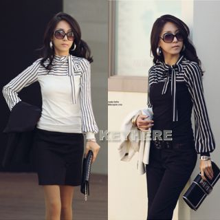 Women Polo Neck Stripes Long Puff Sleeve Cotton Tops Blouses T Shirt