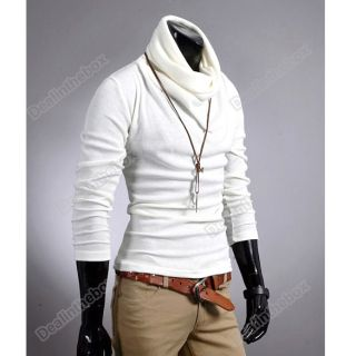 New Korea Mens Casual Slim Fitting Dress Shirts T Shirt Tee Tops 6