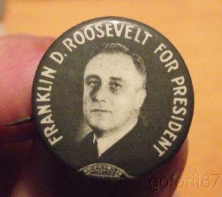 Authentic Vintage Franklin D. Roosevelt FDR pinback, political pin, 3