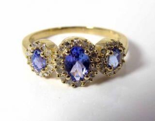 Diamond 10K Gold Three Stone Ring Past Present Future Video