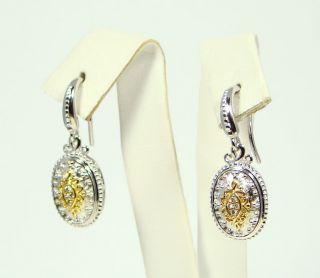 Authentic Gabriel Co Sterling Silver 18K Gold Diamond Oval Earrings
