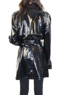 Michael Kors Black Vinyl PVC Patent Leather Belted Trench Coat Jacket