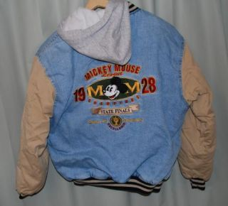 Mickey Mouse League 1928 Champs Denim Jacket Hoodie Disney Large Adult