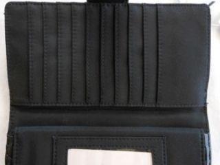 Bass Co Black Wallet Pebble Grain Faux Leather Clutch New