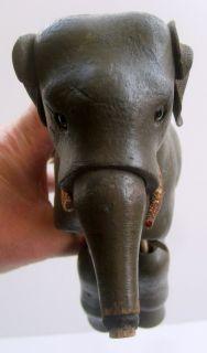 Old Antique SCHOENHUT Wood Elephant Glass Eyes Leather Ears, Tusks
