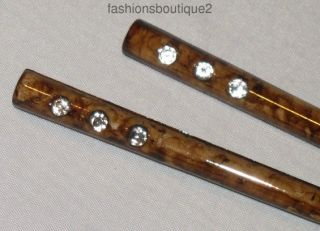 Set of 2 Glossy Marbleized Plastic Hair Sticks Clear Crystals Select