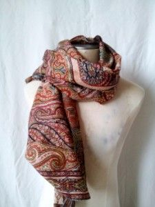 New ETRO Milano Made in Italy Wool Silk Wrap Shawl Paisley Mosaic