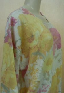 GABRIELLA T. LADIES KNIT SWEATER YELLOW/PINK FLORAL LARGE NEW W/O TAGS