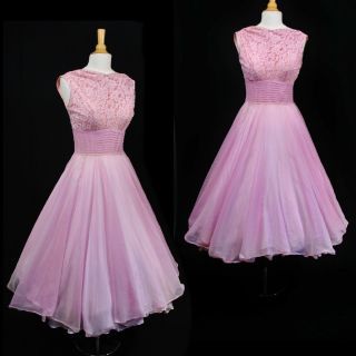 VTG 50s FRED PERLBERG Sheer Lace CHIFFON Formal DRESS Wedding Prom