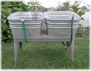 Vintage Double Galvanized Washtub Wash Tub Stand Planter Cooler Garden