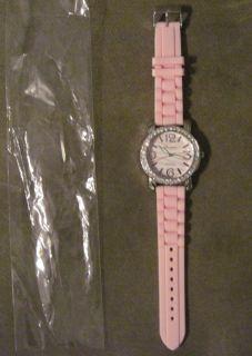 GENEVA Platinum Pink White Zebra Silicone Rubber Watch Rhinestone
