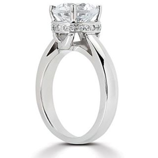 25 Ct Moissanite Solitaire Engagement Ring with Diamonds 14k White