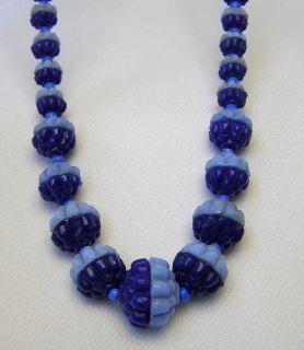 Vintage Art Deco Light Dark Blue Molded Glass Beaded 17 1 2 Glass