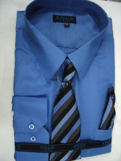 Mens French Blue Long Sleeve Dress Shirt with Matching Tie New Sizes