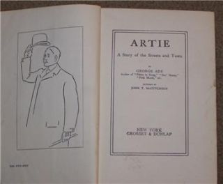 artie a story of the streets and town by george ade 1896 hc