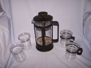 NEW! BODUM FRENCH PRESS COFFEE POT SET, With 2 MUGS PLUS SUGAR AND