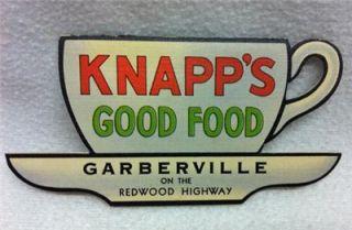 Unusual Advertising   KNAPPS GOOD FOOD Garberville COFFEE CUP