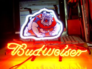 Fresno Sae Bulldogs Budweiser Beer Neon Ligh Sign IF045