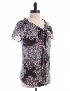 Gap Semi Sheer Floral Short Sleeve Blouse Sz s Top Grey Shirt