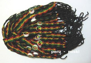 40 Rasta Friendship Bracelets with Ceramic Beads Surf
