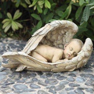 Baby Memorial Sleeping in Angel Wings Gravesite Statue