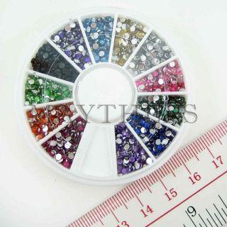 1200 Round Rhinestones Gems 12 Color Nail Art 2mm Wheel