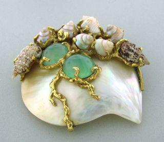 Arthur King 18K Yellow Gold Seashell Gemstone Brooch Pin