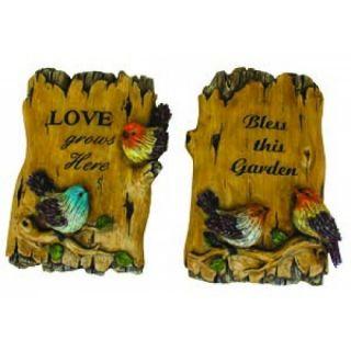 Bird Garden Sign Decor Wall Hang Elegant Plaque Home Signs Love