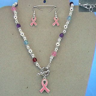 Breast Cancer Pink Ribbon Necklace Earrings Multi color Beads