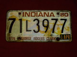 1980 George Rogers Clark Indiana License Plate Original Paint Color