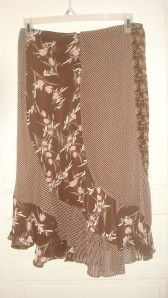 womens george brown flower long skirt size 12