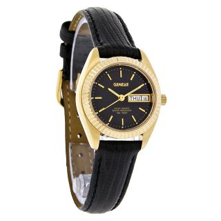 Geneve Swiss Quartz Ladies Gold Rolo Day Date Black Leather Band Dress