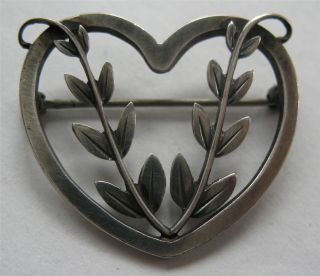 Georg Jensen Denmark Art Deco Sterling Silver Heart Pin 242B Excellent