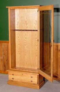 New 8 Gun Shotgun Rifle Cabinet Case Solid Oak Wood 18M