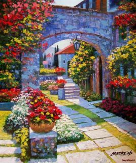 View from Villa Howard Behrens Artist Embellished Canvas Italy