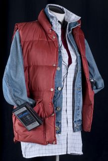 Future Marty McFly Halloween Costume Vest Jacket Shirt EXTRAS S