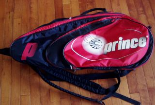 Red & Black PRINCE TENNIS RACQUET BAG Holds 3 or 4 Rackets Multi Strap