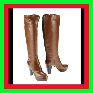 1358 New Gianvito Rossi Brown Boots Tall Leather Knee High Womens Shoe