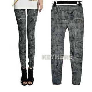 Stylish Womens Stretch Pocket Pattern Skinny Tights Pencil Pants