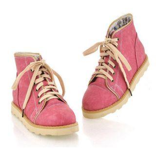 DZ88 New Korean Retro Ankle Boots Flat Lace Up Shoes Martin Women Lady