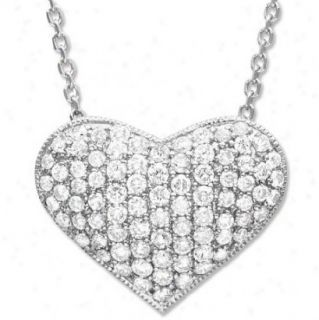 SI1 G 0 65 Ctw Round Diamond Jewelry White Gold Heart Pendant Necklace