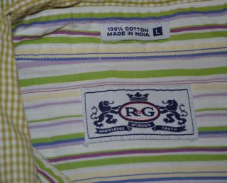 Robert Graham Long Sleeve Green White 100 Cotton Checkered Shirt
